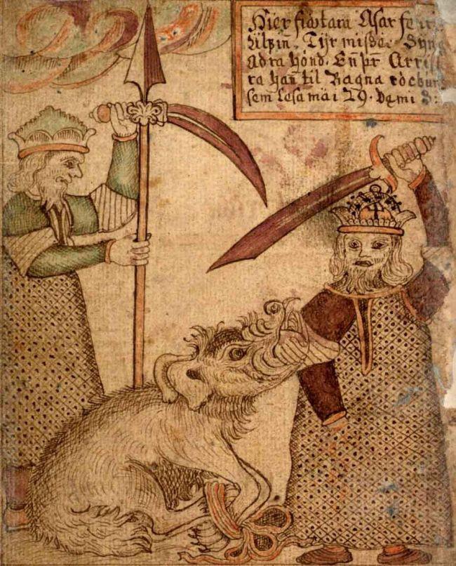 Tyr sacrifie sa main pour enchainer le loup Fenrir