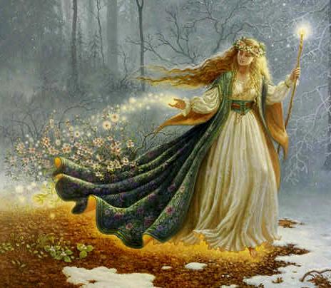 Sortie du sommeil précipitamment, la déesse Ostara couvre la terre de fertilité