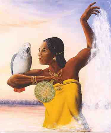 Oshun, la belle mulâtre et son perroquet